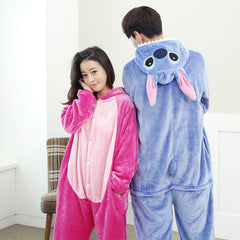 Couple Lounge Pajamas Women Men Conjoined Animal Pajamas Hooded Cartoon Cosplay Sleepwear Lovers Unisex Cute Warm Homewear Unisex
