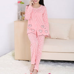 Women Fashion Heart Printing Pajama Sets Breathable Sleepwear Long Sleeve Cotton Lovely Home Suits