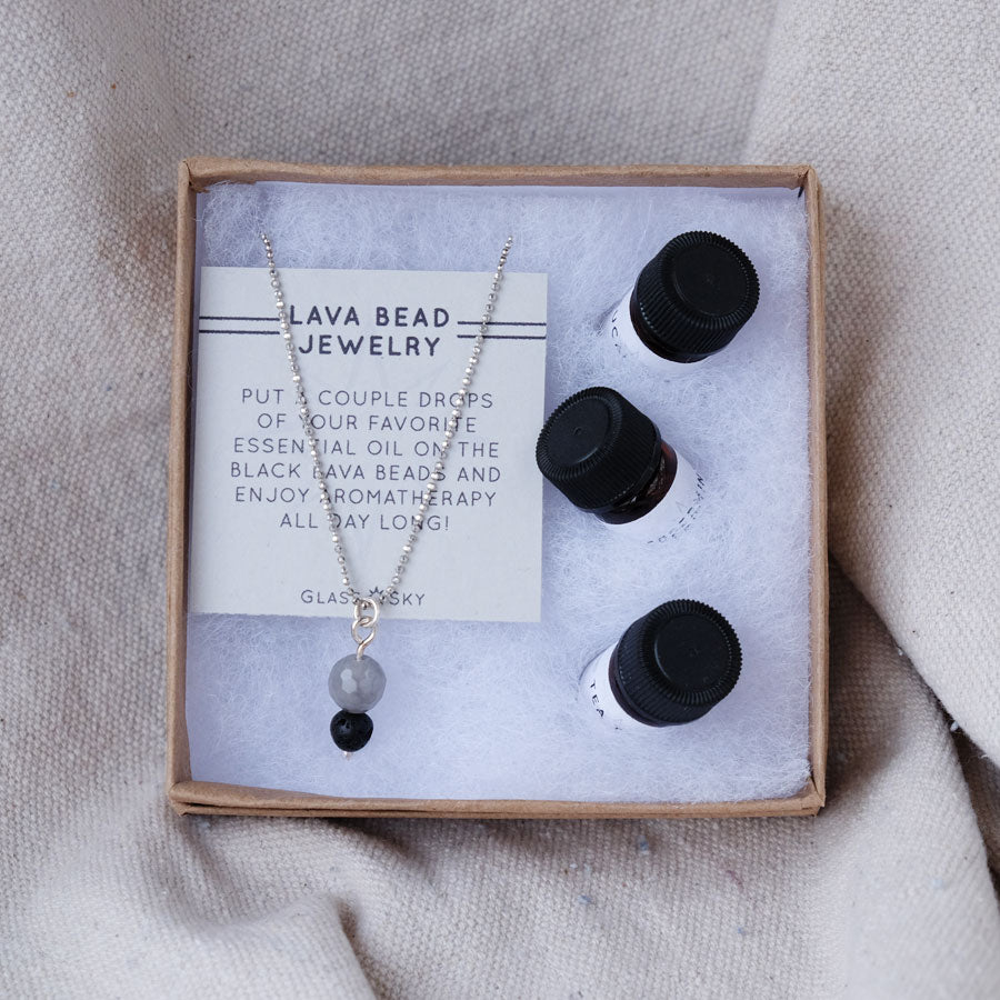 Lava Bead & Quartz Necklace & Essential Oils Set