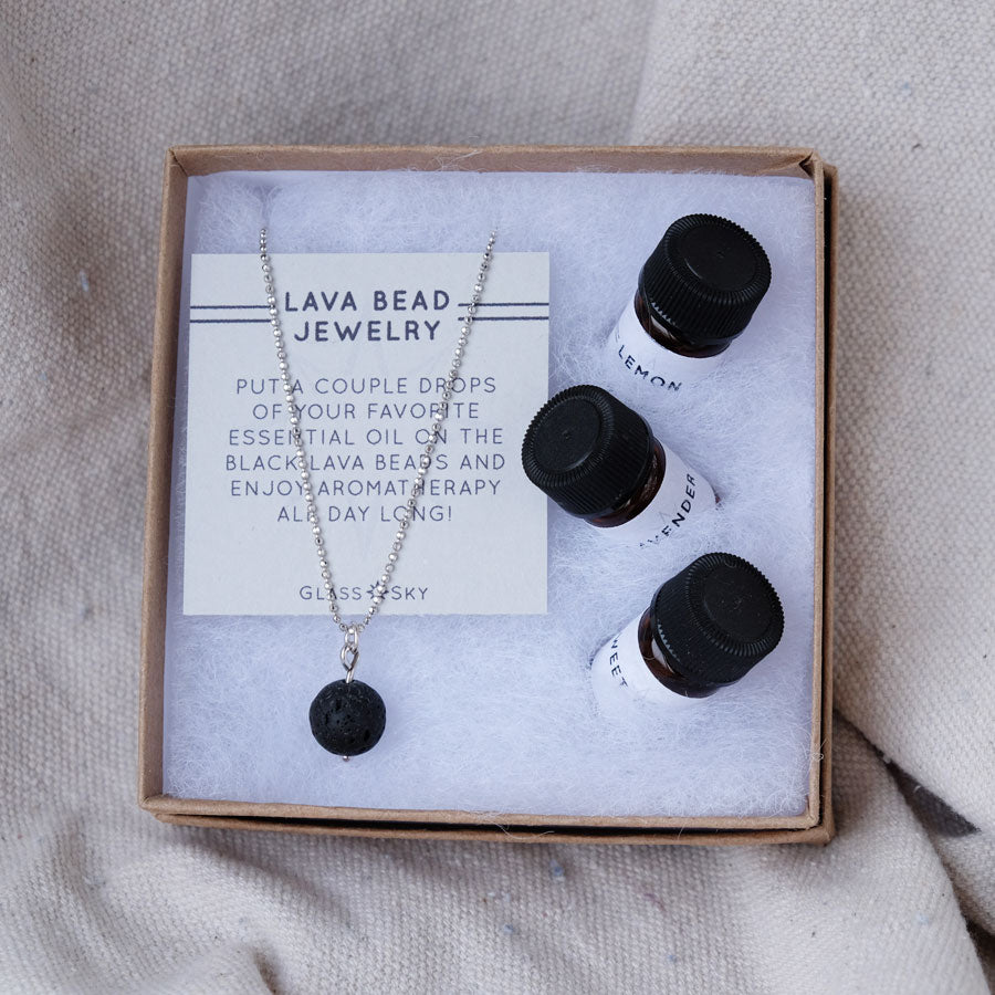 Lava Bead Necklace & Essential Oils Set