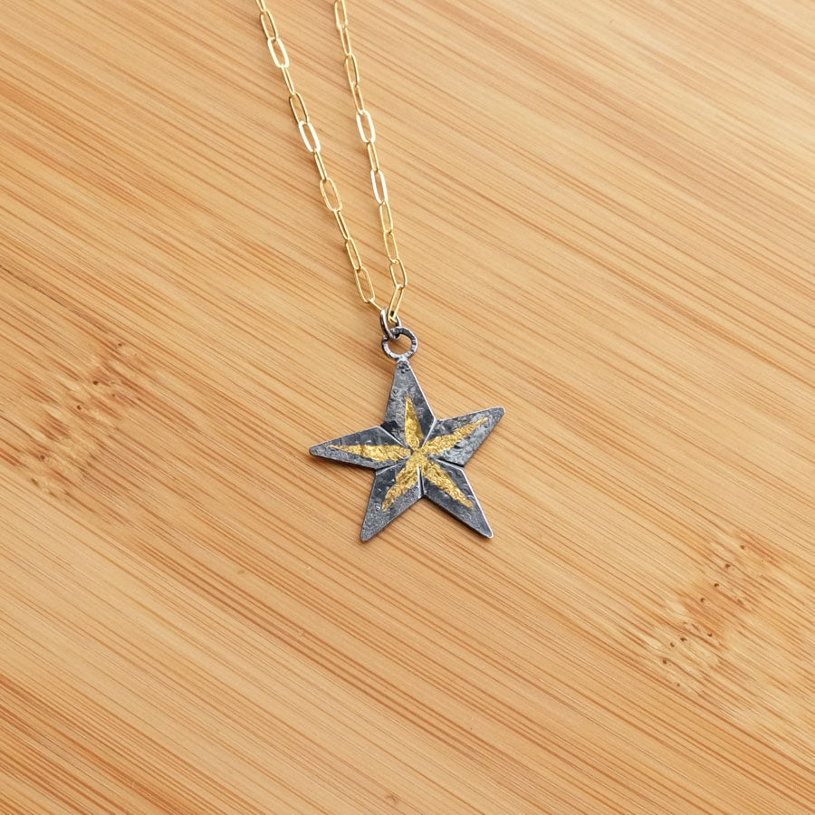 Oxidized Gold 5-Point Star Necklace