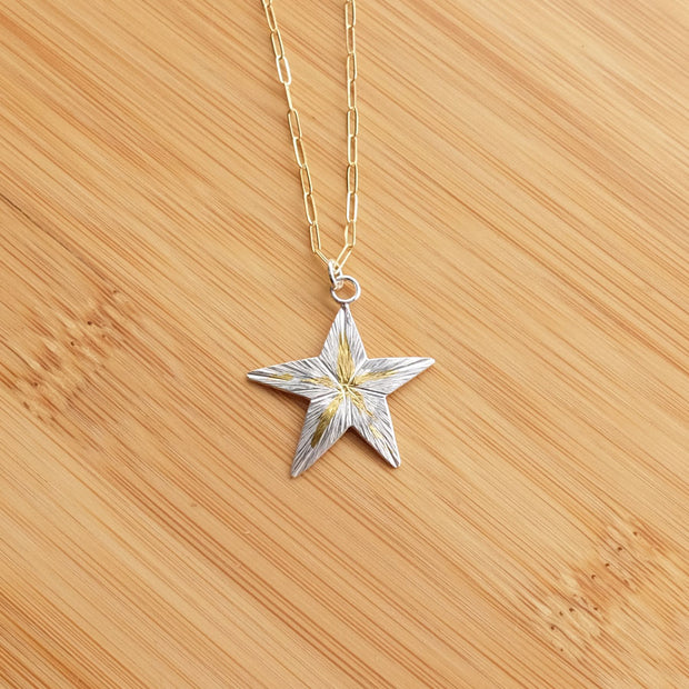 Radiant Gold 5-Point Star Necklace