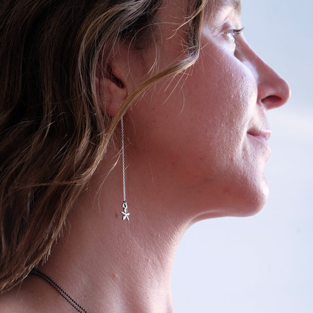Delicate Sterling Silver Star Earring Threaders - Glass Sky Jewelry - Handmade in Columbus Ohio by artist Andrea Kaiser