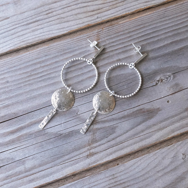 Delicate Geometric Sterling Silver Sun Full Moon Horizon Textured Hammered Earring Dangle Posts - Glass Sky Jewelry - Handmade in Columbus Ohio by artist Andrea Kaiser