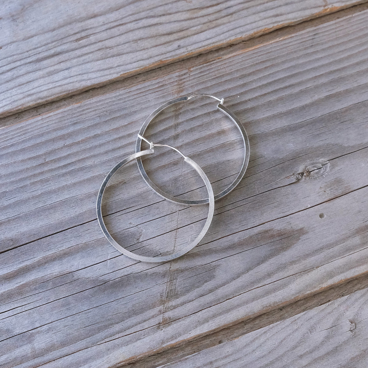 Geometric Sterling Silver Hoop Earrings - Glass Sky Jewelry - Handmade in Columbus Ohio by artist Andrea Kaiser