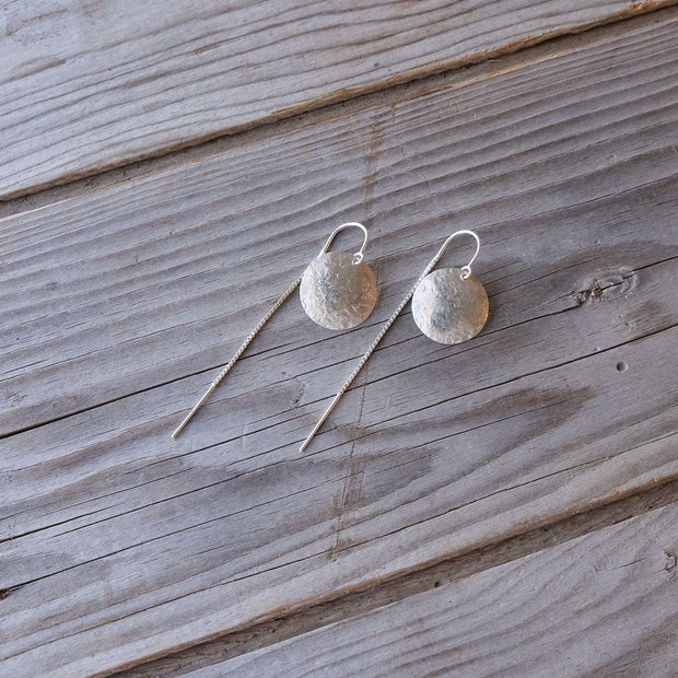 Delicate Sterling Silver Full Moon Textured Hammered Earring U-Bar Threaders - Glass Sky Jewelry - Handmade in Columbus Ohio by artist Andrea Kaiser
