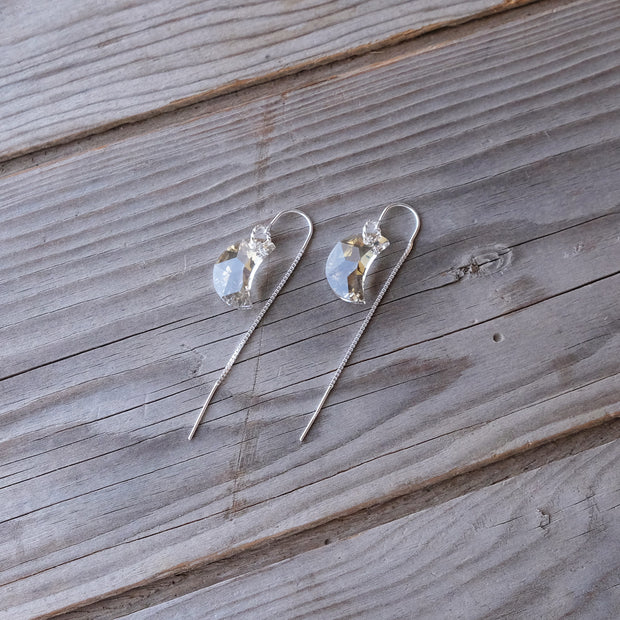 Delicate Sterling Silver Swarovski Crystal Glass Earring U-Bar Threaders - Glass Sky Jewelry - Handmade in Columbus Ohio by artist Andrea Kaiser