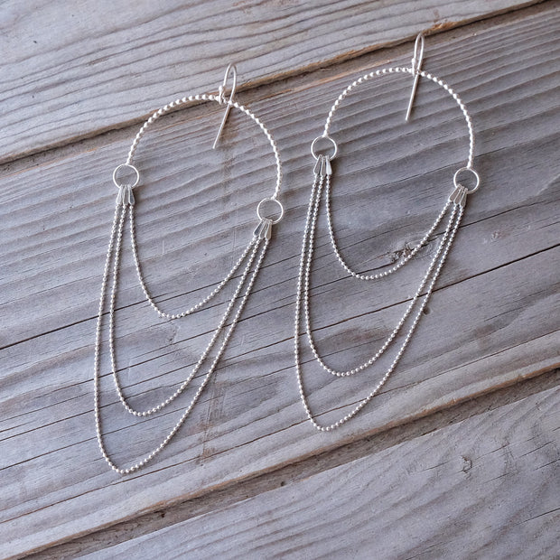 Geometric Sterling Silver Statement Sun Hook Earrings - Glass Sky Jewelry - Handmade in Columbus Ohio by artist Andrea Kaiser
