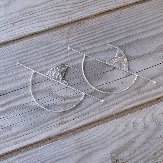 Geometric Sterling Silver Statement Full Moon Rising Post Earrings — Sun Moon Horizon - Textured Hammered Silver -  Glass Sky Jewelry - Handmade in Columbus Ohio by artist Andrea Kaiser