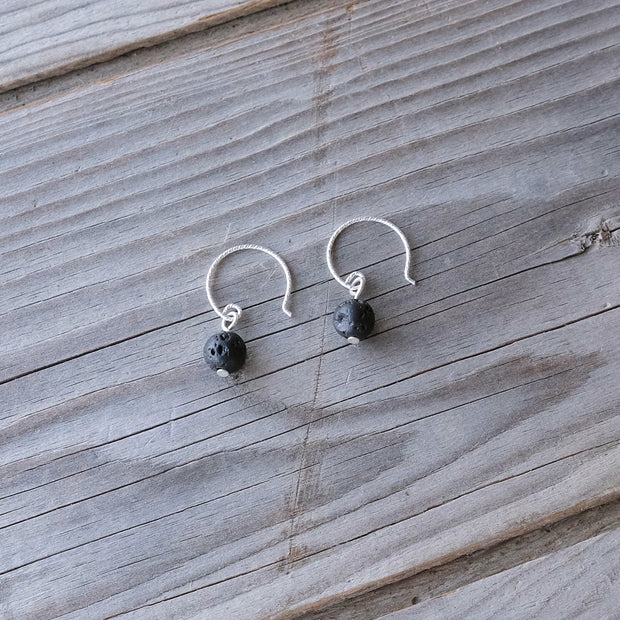 Sterling Silver Lava Bead Aromatherapy Hook Earrings - pair with essential oils - Glass Sky Jewelry - Handmade in Columbus Ohio by artist Andrea Kaiser