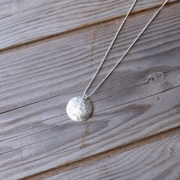 Delicate Geometric Sterling Silver Hammered Moon Charm Necklace - Glass Sky Jewelry - Handmade in Columbus Ohio by artist Andrea Kaiser