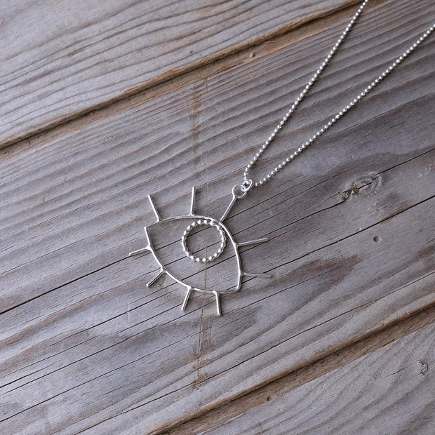 Delicate Geometric Sterling Silver Stargazer Eye Charm Necklace - Glass Sky Jewelry - Handmade in Columbus Ohio by artist Andrea Kaiser