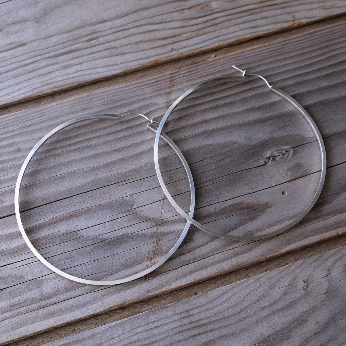 Geometric Sterling Silver Statement Hoop Earrings - Glass Sky Jewelry - Handmade in Columbus Ohio by artist Andrea Kaiser