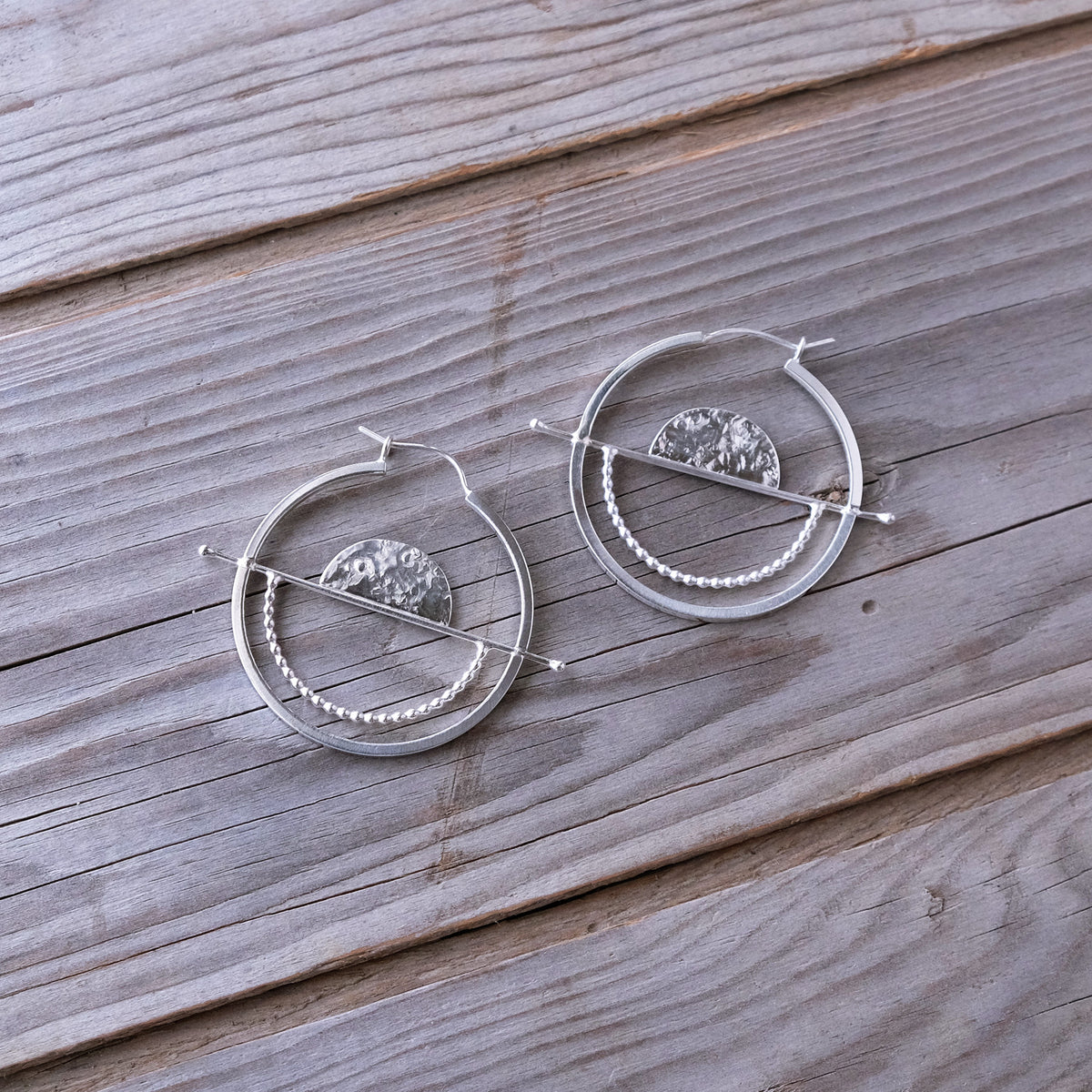 Geometric Sterling Silver Statement Full Balance Hoop Earrings — Sun Moon Horizon - Textured Hammered Silver -  Glass Sky Jewelry - Handmade in Columbus Ohio by artist Andrea Kaiser