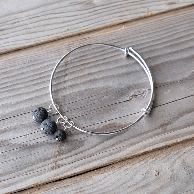 Lava Bead Bracelet - Black Lava Beads - Essential Oils - Aromatherapy - Glass Sky Jewelry