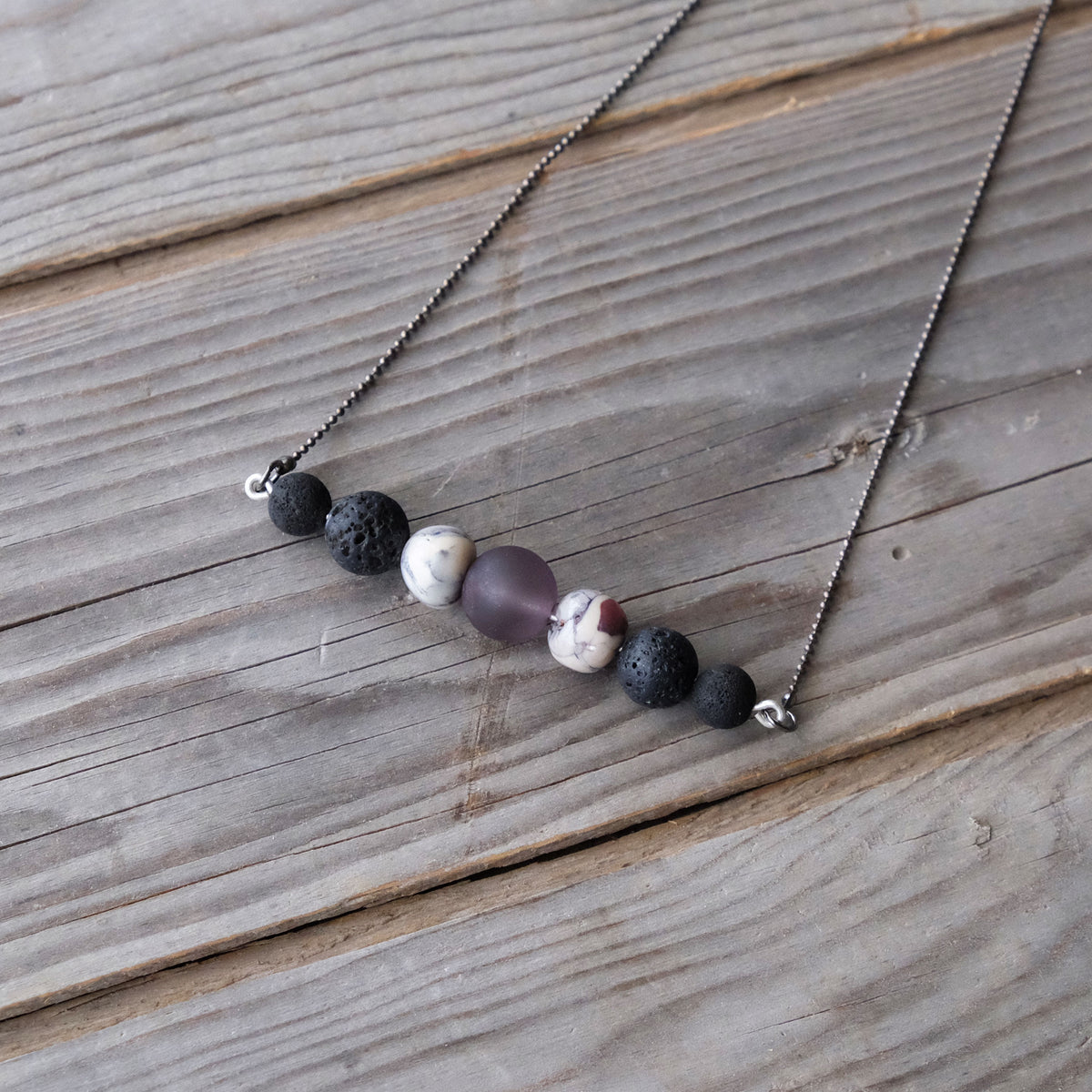 Lava Bead Bar Necklace - Essential Oils - Aromatherapy - Glass Sky Jewelry