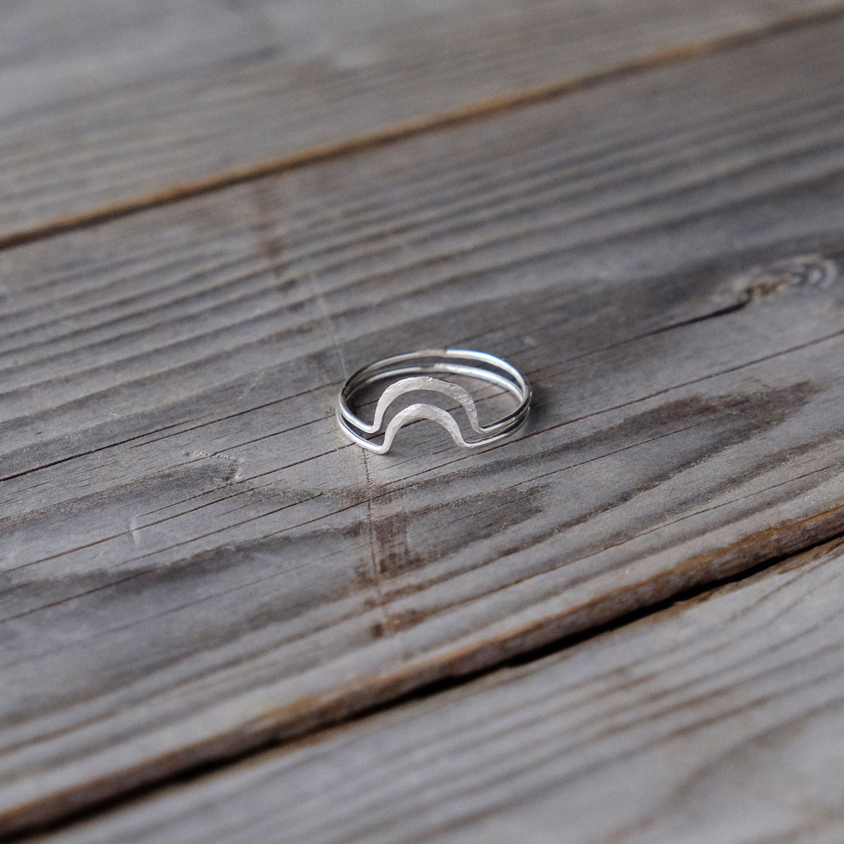 Sterling Silver Stacking Rings - Sun and Moon - Playful Pair - Glass Sky Jewelry