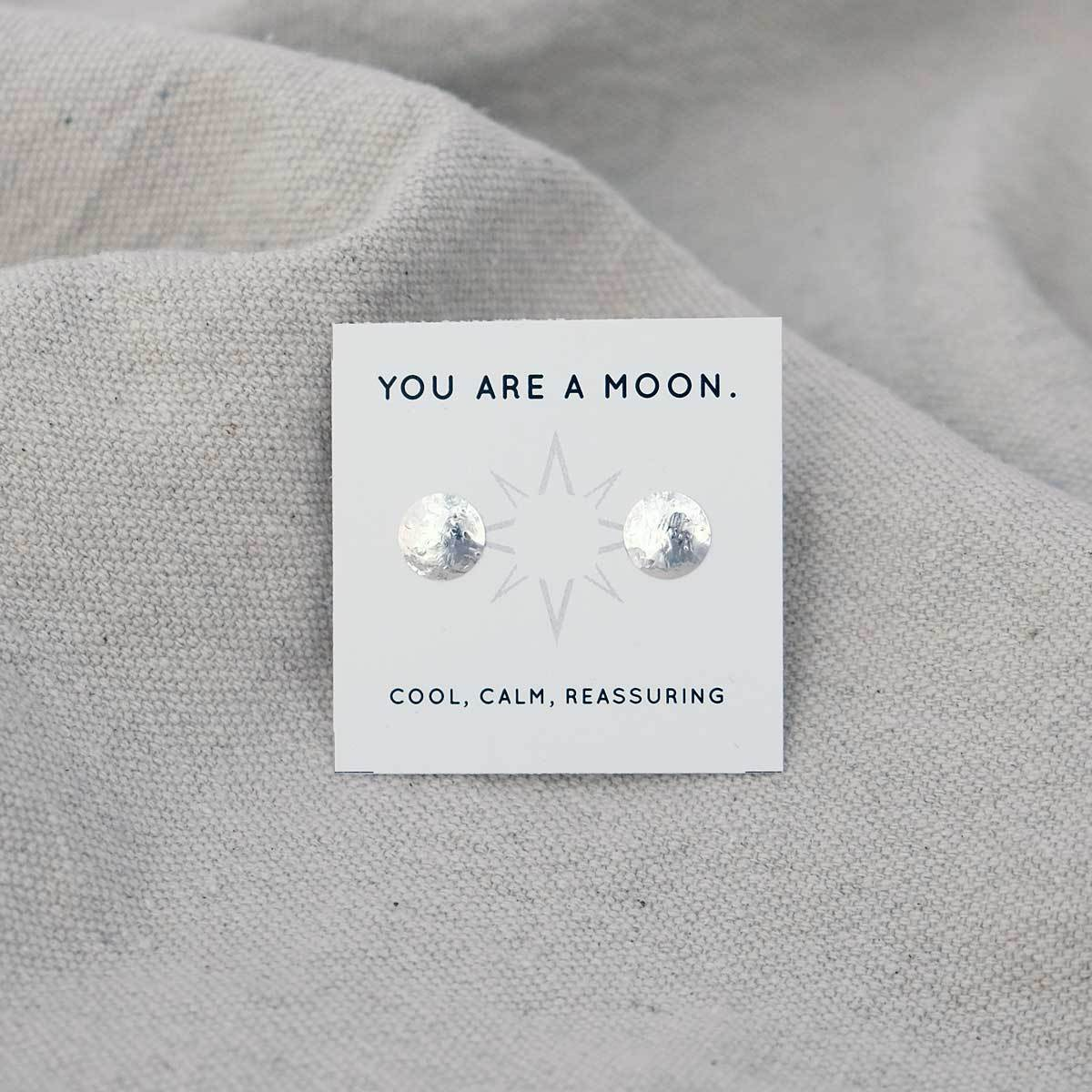 Glass Sky Jewelry - Full Moon Mini Posts - Sterling Silver Handmade Minimal Jewelry