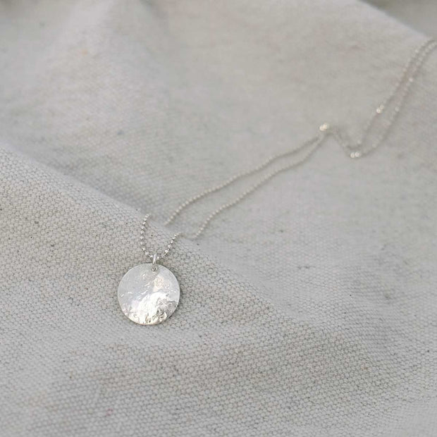 Glass Sky Jewelry - Full Moon Mini Necklace - Sterling Silver Handmade Minimal Jewelry