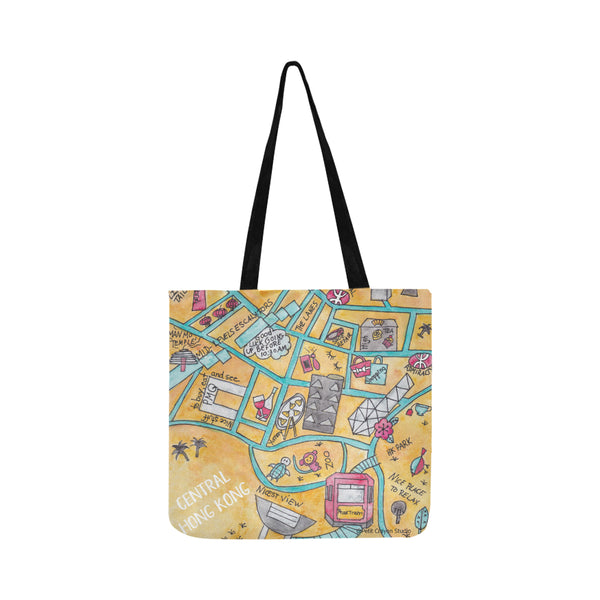 Petit Crayon Studio Hong kong map of Central, watercolor tote bag from Hong kong, Hong Kong gift idea for a teacher, friend, expat or tourist.