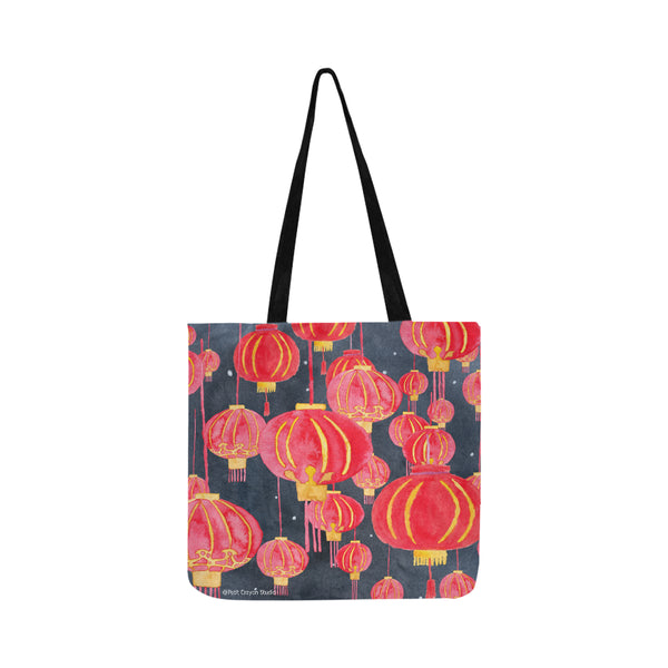 Petit Crayon Studio Hong Kong Tote bags, Hong kong chinses lanterns watercolor bag, reusable eco bag from Hong Kong, buy online Hong Kong gifts and presents