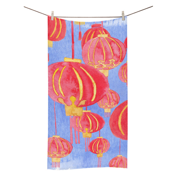 Petit Crayon Studio Hong Kong Lanterns Beach towel gift idea, HK themed gift ideas online store, Buy online Hong Kong themed beach towels, Hong Kong bags, kid's clothes