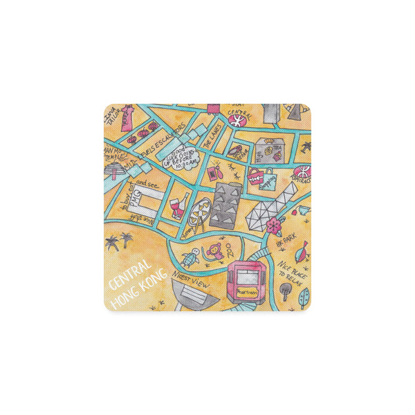 Petit Crayon Studio Hong Kong Central Coaster, Family gift, expatriates present, Hong Kong themed gifts