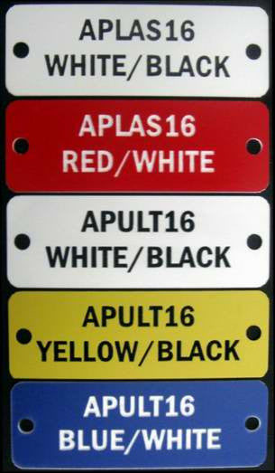 Acrylic (Trafolite) labels for electrical switch boards.