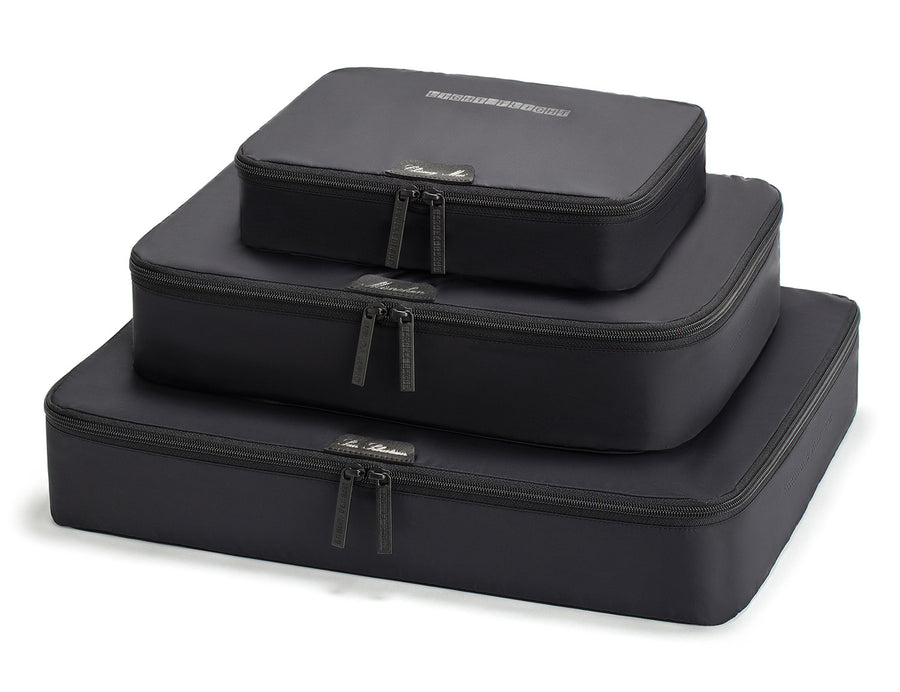 LIGHT FLIGHT Lightweight 3pc Set Travel Packing Cubes Black