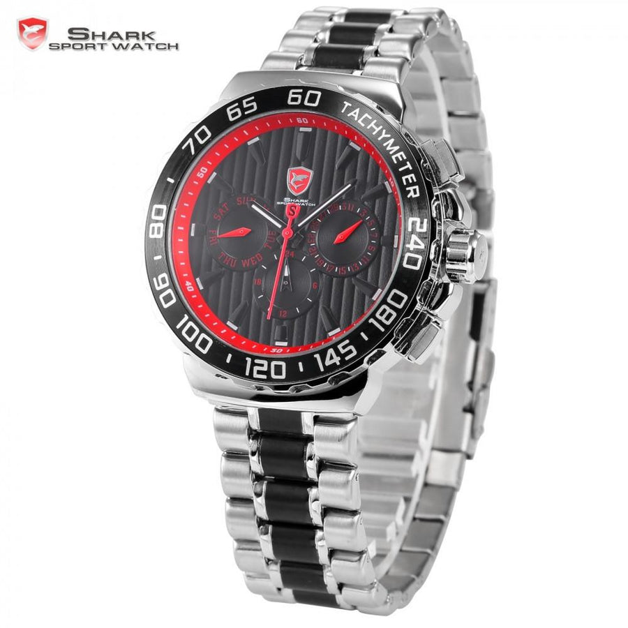 Blacknose Shark Sport Watch Silver/Red
