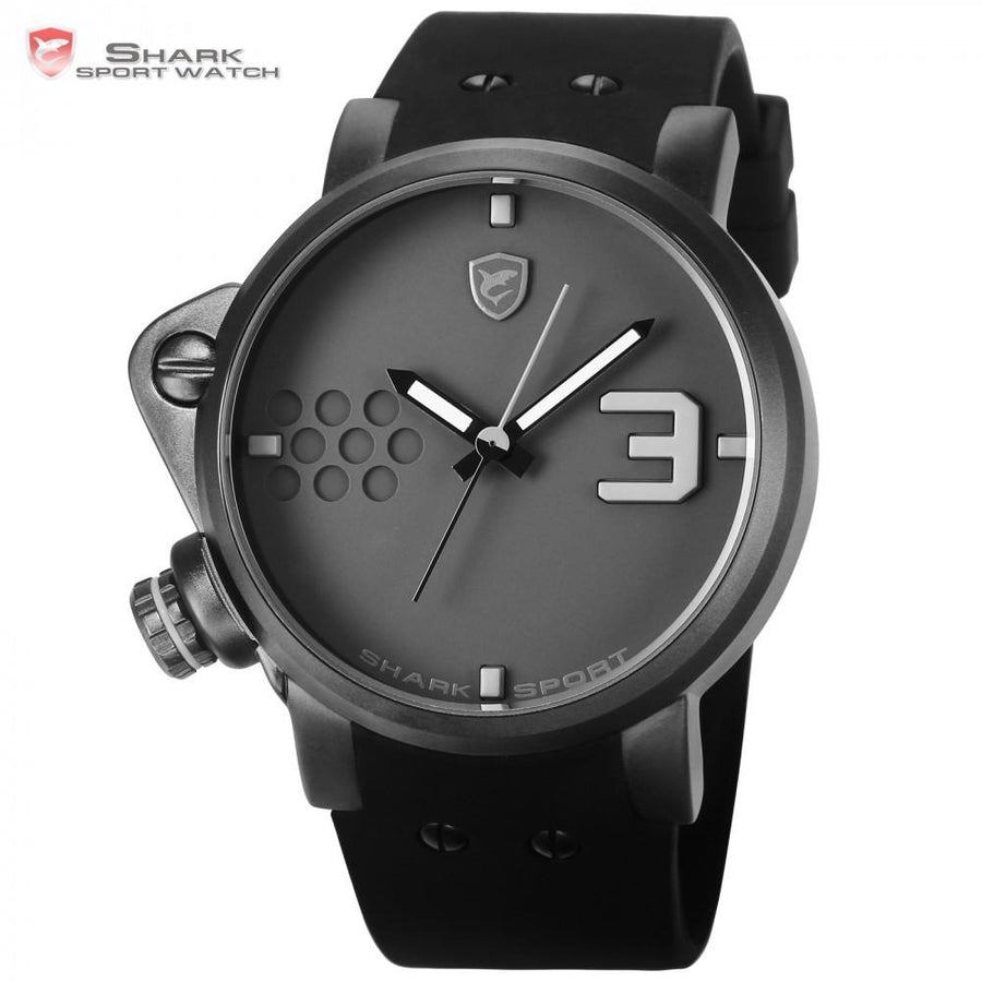 Salmon SHARK Sport Watch Luxury Grey Dial Clock Male Waterproof Sports Silicone Strap Casual Wrist Relogio Masculino Gift /SH518