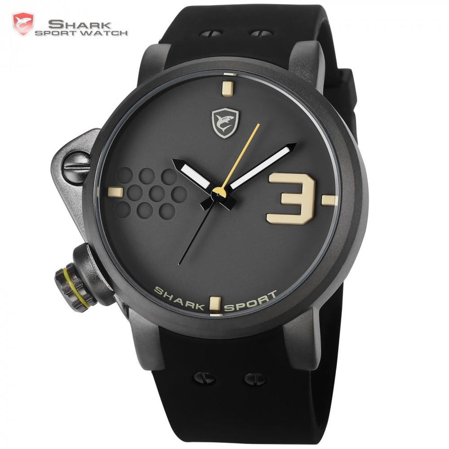 Salmon SHARK Sport Watch Yellow Men Man Top Brand Luxury Quartz-Watches Silicone Watches Waterproof Relogio Heren Hodinky /SH519