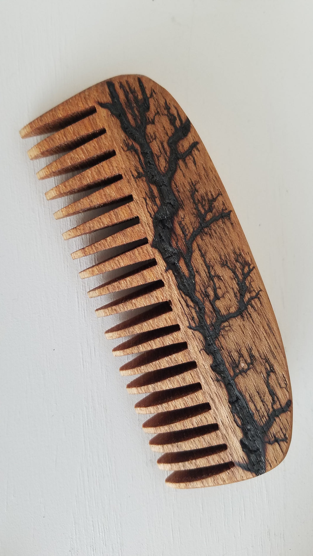 Fractal Burned Hickory Beard Comb