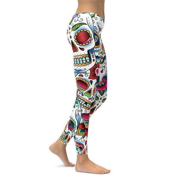 Colorful Dead - Sugar Skull Leggings-Pattern Leggings-Prime4Choice.com-
