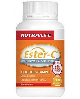 Nutralife Ester C 1000mg With Vitamin D3 + Bioflavanoids-Clearance