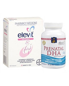 Limited Value pack: 1 Elevit Iodine 100s and 2 Nordic Naturals Prenatal DHA 90s