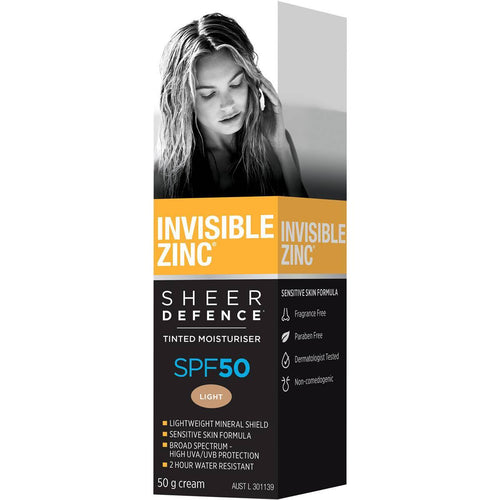 Invisible Zinc Sheer Defence Tinted Moisturiser SPF50 Light