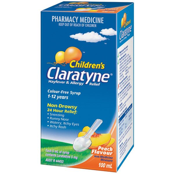 Claratyne Children's Hayfever & Allergy Relief Antihistamine Peach Flavoured Syrup
