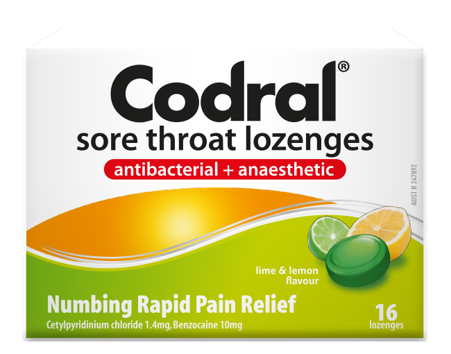 Codral Sore Throat Lozenges Lime & Lemon Flavour