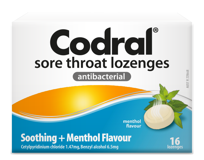 Codral Sore Throat Lozenges Menthol Flavour