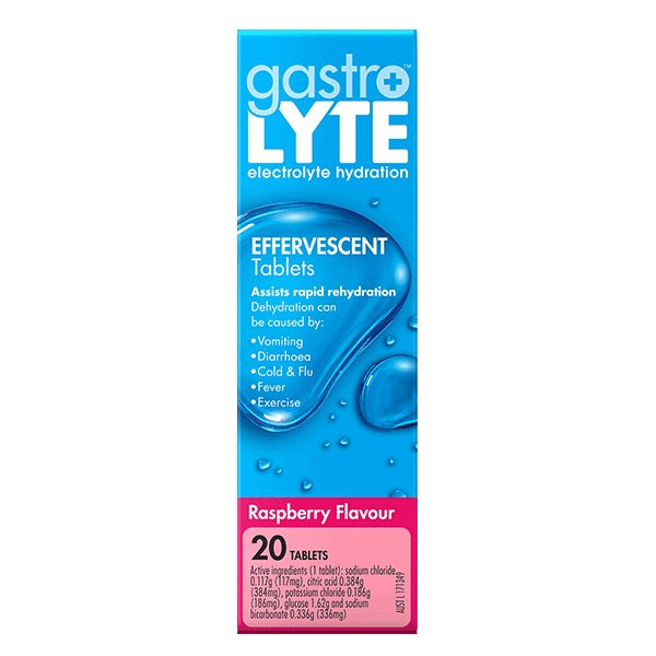 Gastrolyte Effervescent Tablets Raspberry Flavour