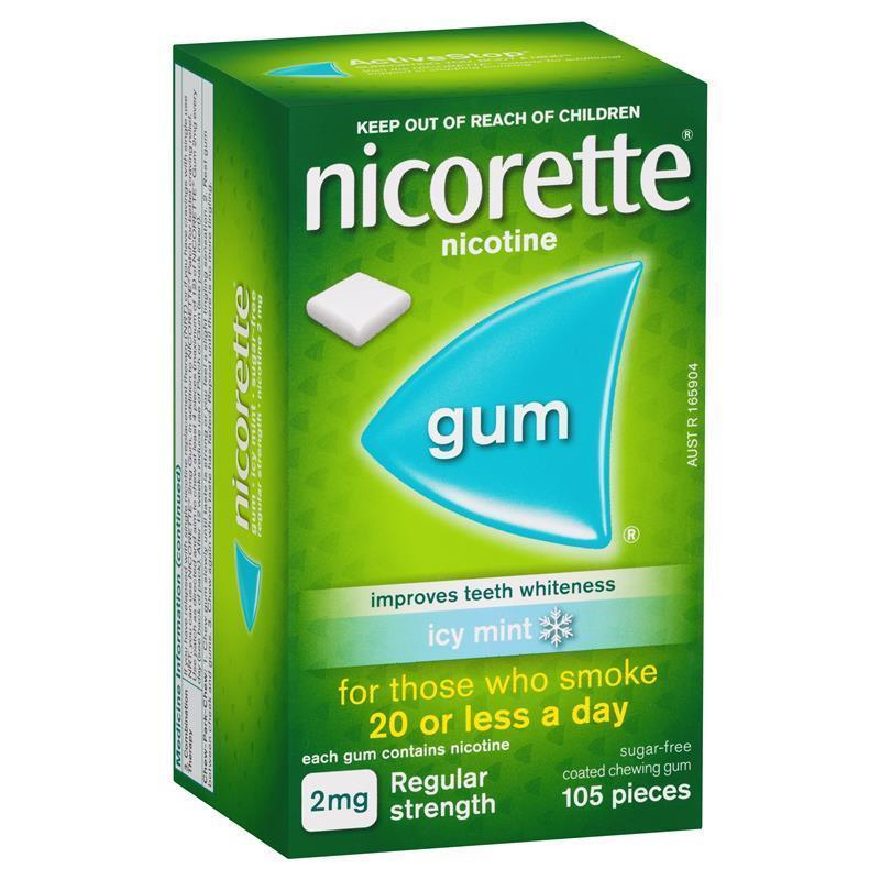 Nicorette Regular Strength Chewing Gum 2mg Icy Mint