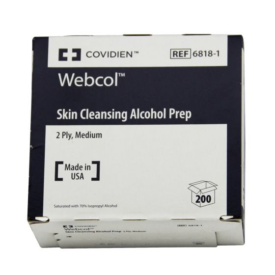 Webcol Skin Cleansing Alcohol Prep Staurated with 70% Isopropyl alcohol