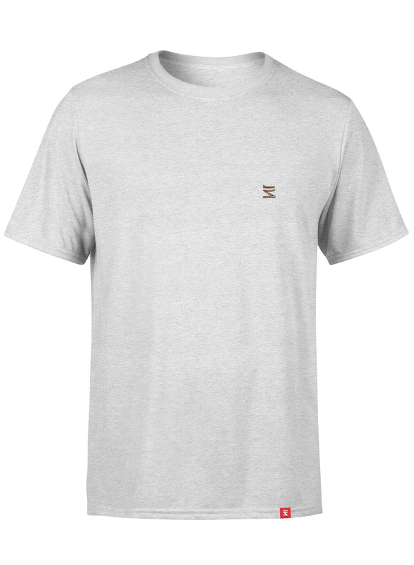 Plain Mens Round Neck White Heather Half Sleeve T-Shirt