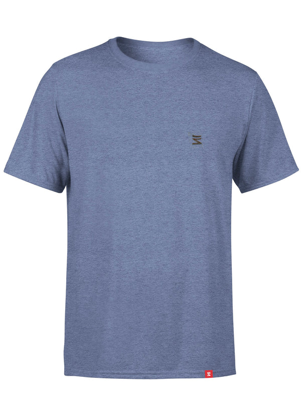 Plain Mens Round Neck Navy Heather Half Sleeve T-Shirt