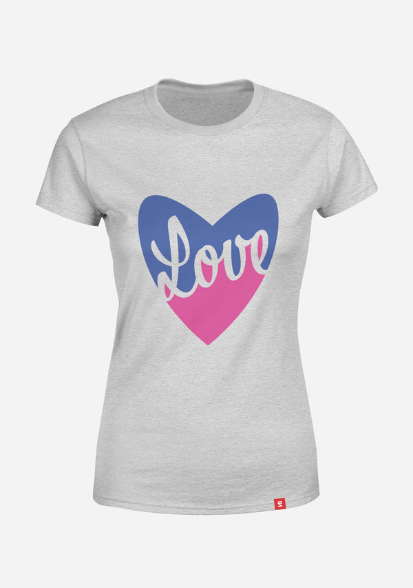 Love Heart Women Round Neck T-Shirt