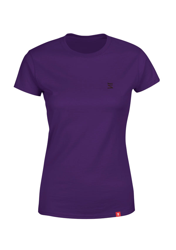 Plain Womens Round Neck Purple Half Sleeve T-Shirt