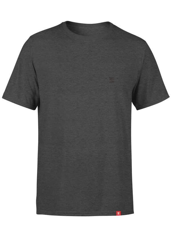 Plain Mens Round Neck Black Heather Half Sleeve T-Shirt