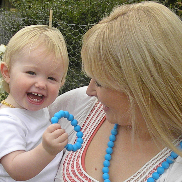 silicone teething necklace for mom and baby - sky blue