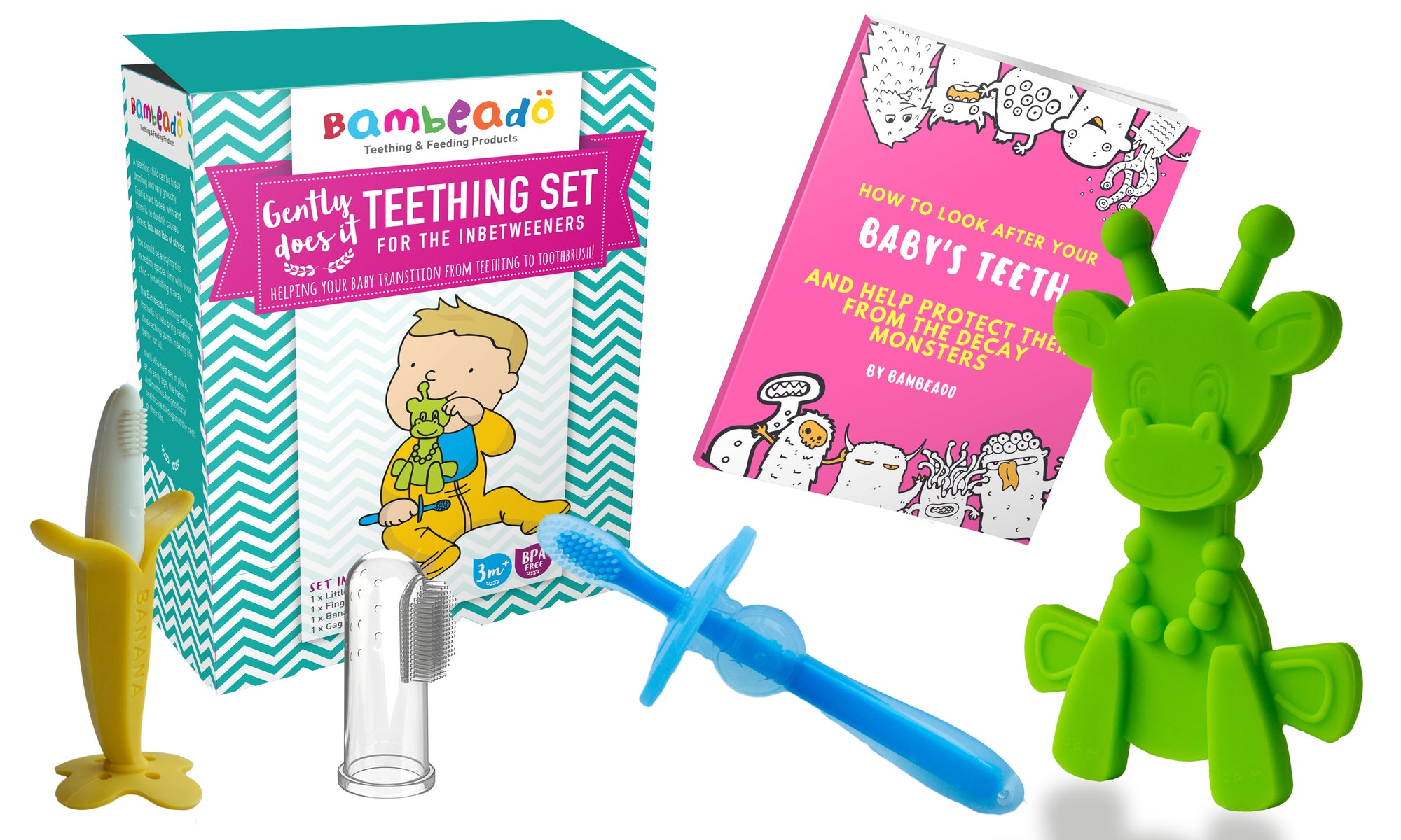 Teething Toys Set By Bambeado Color Combination Lime Yellow Blue